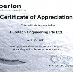 Coperion  Certificate of Appreciation -